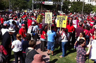 Hundreds of teachers gather in downtown Los Angeles' Pershing Square on Friday, May 13, 2011 as part of a statewide campaign to rally against cuts in education funding.