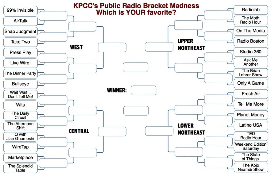 KPCC's 2014 Public Radio Bracket Madness!