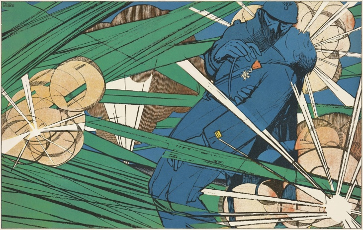 "Detail of ""I Have You My Captain. You Won't Fall."" Paul Iribe (French, 1883–1935) À coups de baïonnette 9 (June 1917): pp. 424–25 The Getty Research Institute, Los Angeles (93-S507)"