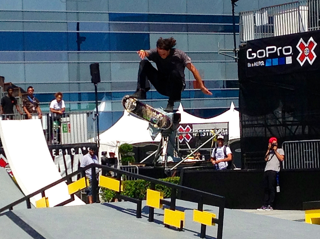 A skateboarder practices Wednesday for the 2013 Summer X Games at L.A. Live, which will be the last to be hosted by Los Angeles.