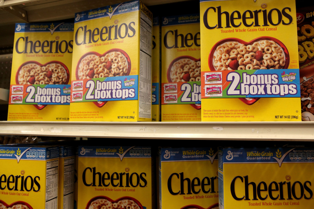 Boxes of Cheerios cereal, made by General Mills, sit on the shelf at a grocery store September 23, 2009 in Berkeley, California.