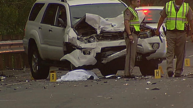 A driver was arrested in connection with a fatal crash that all but one lane of the westbound Ventura (101) Freeway near the Balboa Boulevard off-ramp in Encino before dawn on Sunday, July 28, 2013.