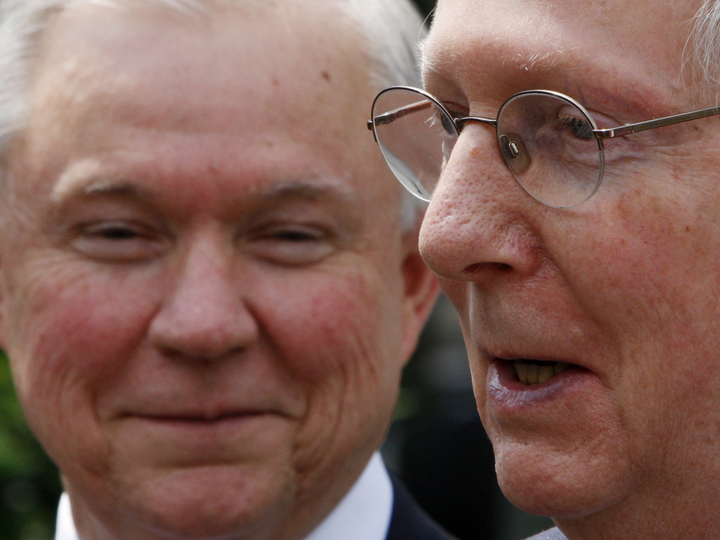 Senate Majority Leader Mitch McConnell, R-Ky., appears in 2009 with then-Sen. Jeff Sessions of Alabama. McConnell suggested on Tuesday that Sessions run as a write-in candidate to keep former judge Roy Moore from winning his old seat.