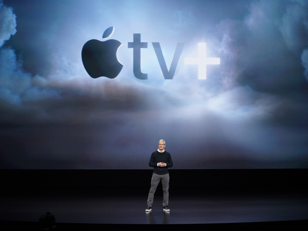 Apple CEO Tim Cook announces Apple TV+, a new video streaming service Monday in Cupertino, Calif.