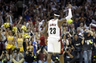 LeBron James #23 of the Cleveland Cavaliers reacts after beating the Boston Celtics 101-93 in Game One of the Eastern Conference Semifinals during the 2010 NBA Playoffs at Quicken Loans Arena on May 1, 2010 in Cleveland, Ohio.