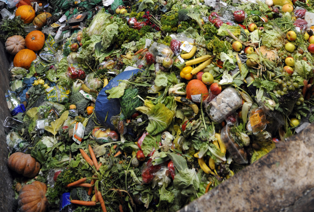 A photo taken on October 23, 2012 in Morsbach, western France, shows waste food products stocked at the Methavalor factory.