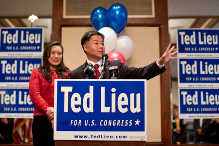 Congressional candidate Ted Lieu speaks to supporters during his election gathering at the Proud Bird near LAX on Tuesday night, June 3.