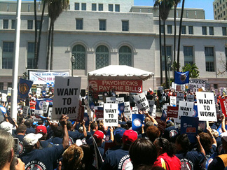 Hundreds rallied near Los Angeles City Hall on Friday, Aug. 13, 2010. They came to push the the federal government to support bills to create jobs.