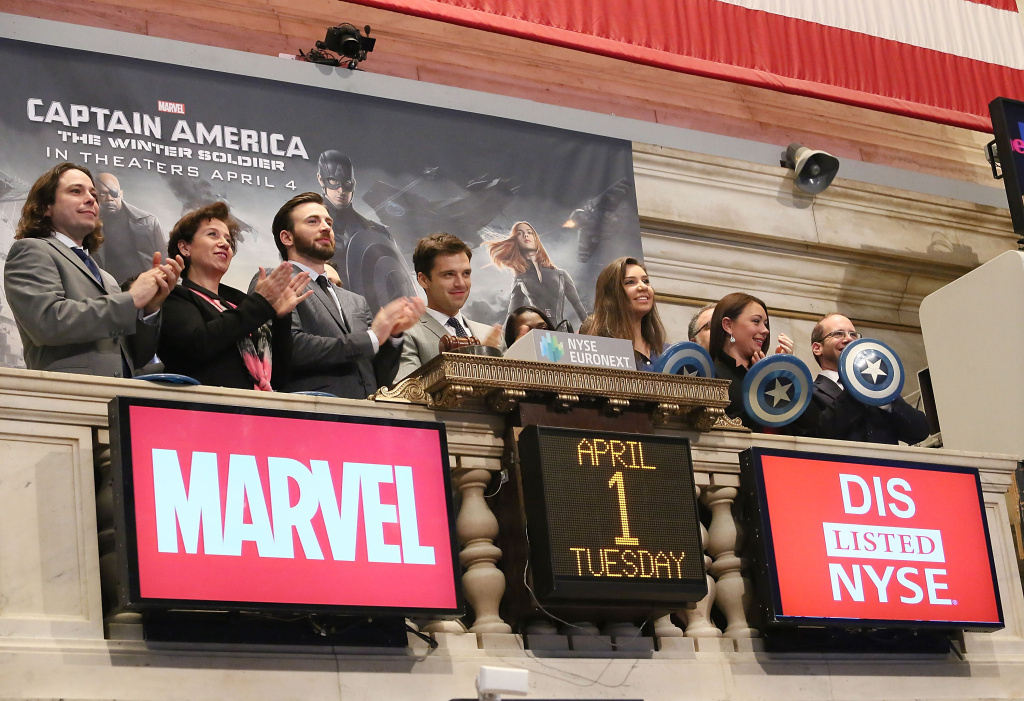 Actors Chris Evans (3rd from left) and Sebastian Stan from