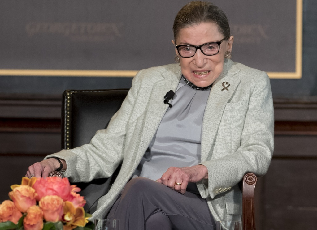 Associate Justice of the US Supreme Court Ruth Bader Ginsburg speaks at Georgetown University in Washington, DC, April 27, 2017.