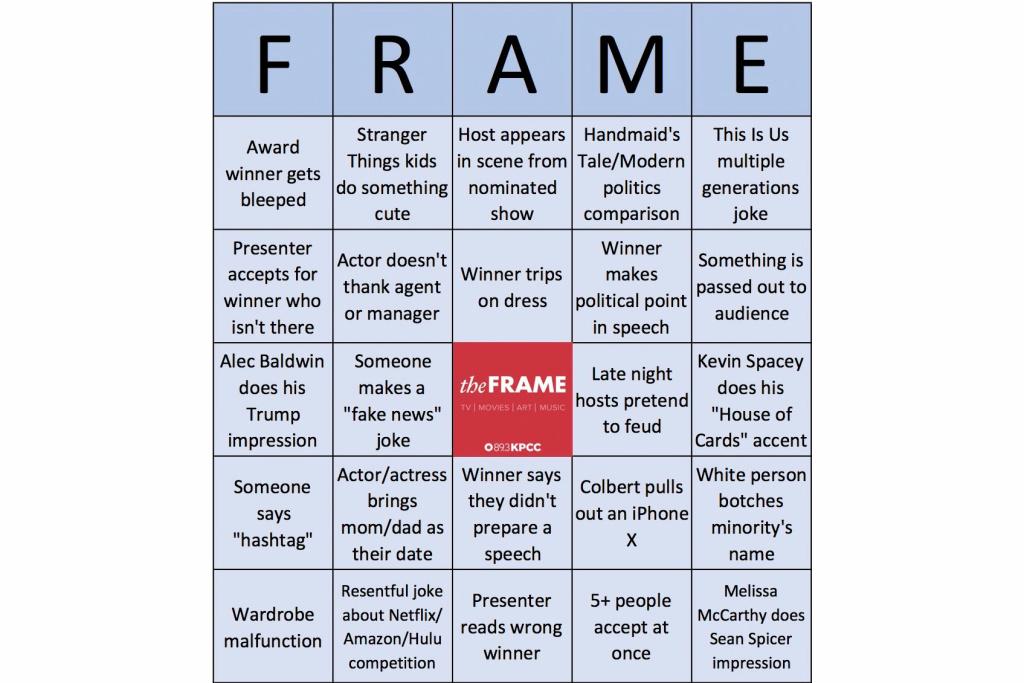KPCC's The Frame Emmys 2017 bingo
