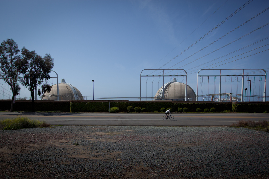 A cyclist rides past the San Onofre Nuclear Power Plant on April 6, 2012.