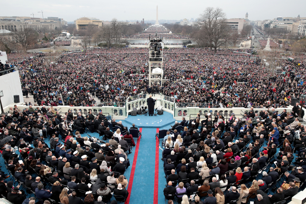 President Donald Trump gives his inaugural speech on the West Front of the U.S. Capitol on January 20, 2017 in Washington, DC. In today's inauguration ceremony Donald J. Trump becomes the 45th president of the United States.
