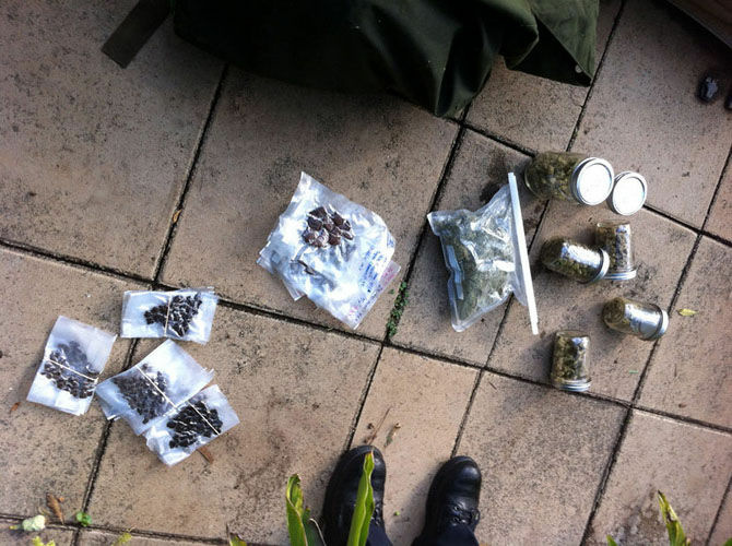 Some of the marijuana and hash found in the bag in Mack Reed's backyard.