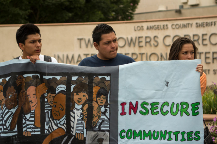 Protestors gathered outside of the Twin Towers Correctional Facility in Downtown Los Angeles to kick off the Restoring Trust campaign in L.A., which urges Sheriff Lee Baca to end collaborations with U.S. Immigration and Customs Enforcement.