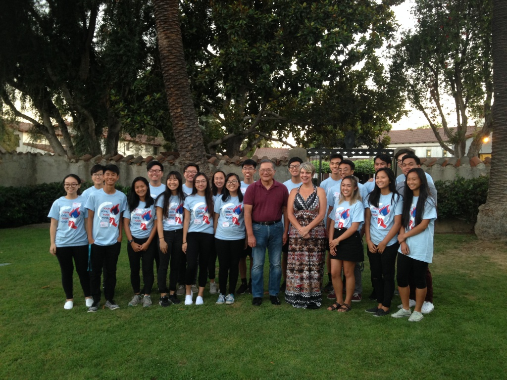 Some of the members of Vote at 16 San Gabriel Valley, with Alhambra Unified School District Board Members, Robert Gin and Joanne Russel Chavez, at the school board candidate round table held by the student group.