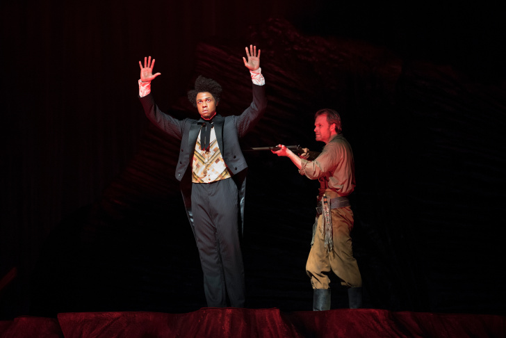 A recreation of the Discovery Tree stump is part of the set in the San Francisco Opera's production of