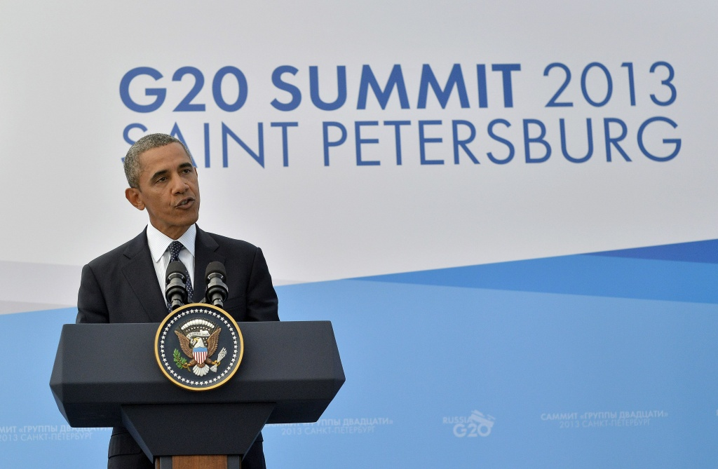 US President Barack Obama speaks during a press conference in Saint Petersburg on September 6, 2013 on the sideline of the G20 summit. World leaders at the G20 summit on Friday failed to bridge their bitter divisions over US plans for military action against the Syrian regime, with Washington signaling that it has given up on securing Russia's support at the UN on the crisis.