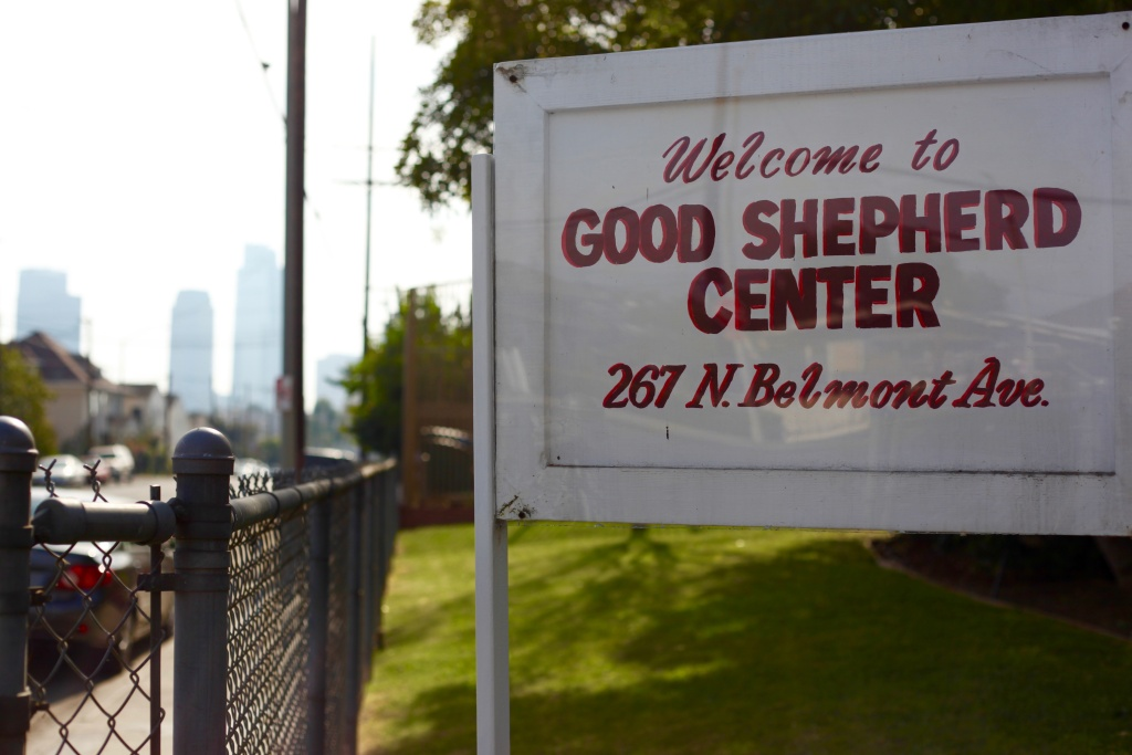 Welcome sign for Good Shepherd Center in Angeleno Heights, CA