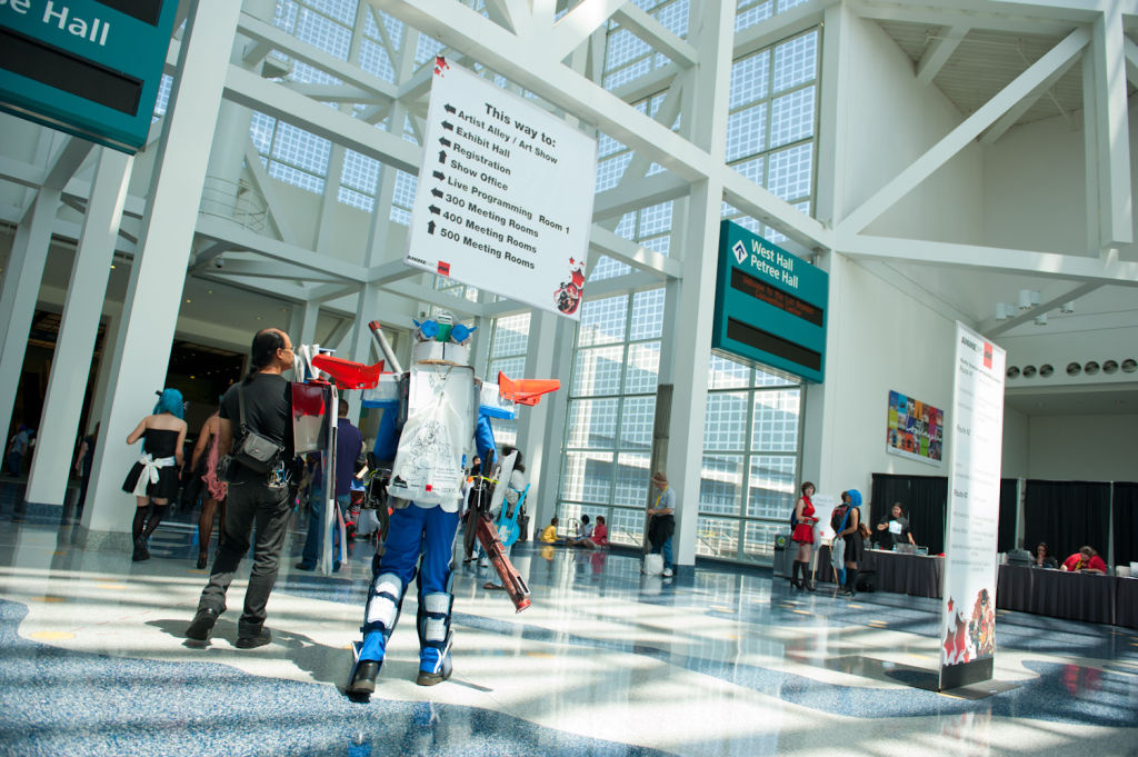This is the 15th year that Mark Alvarez and his family have attended the Anime Expo. This year he spent three months putting together his Blueframe Gundam Ashtray costume.