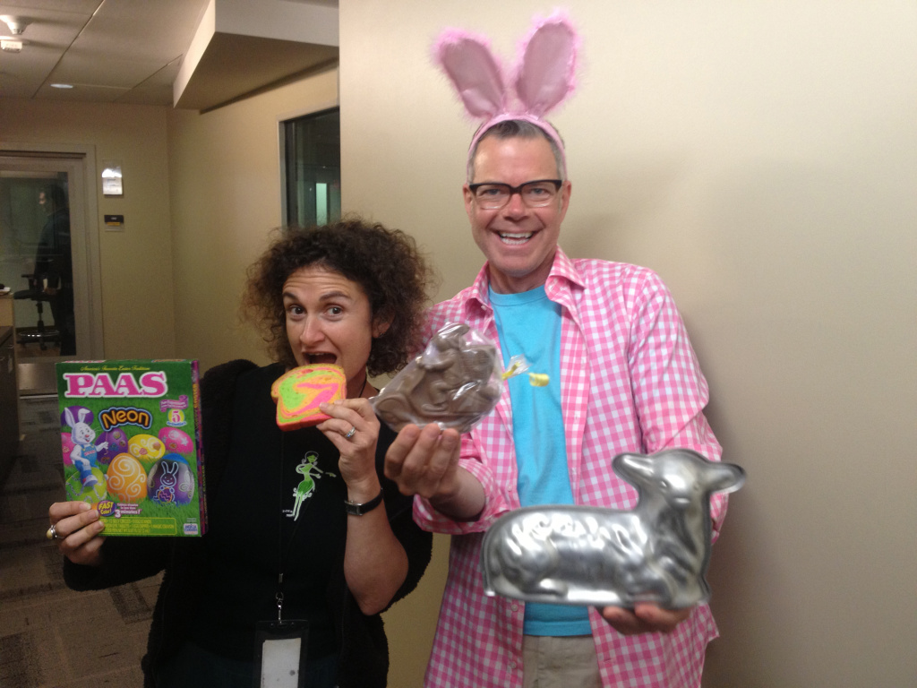 Alex Cohen and Charles Phoenix with their Easter haul.