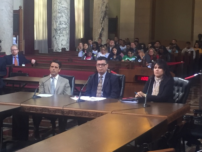 From left:  John Wickham and Roy Morales of the Los Angeles Chief Legislative Analyst's office and  Valerie Flores of the City Attorney's office brief the L.A. City Council's Economic Development committee
