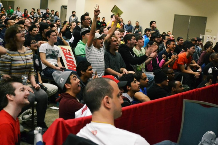 Fans watch a match during the So Cal Regionals fighting game competition