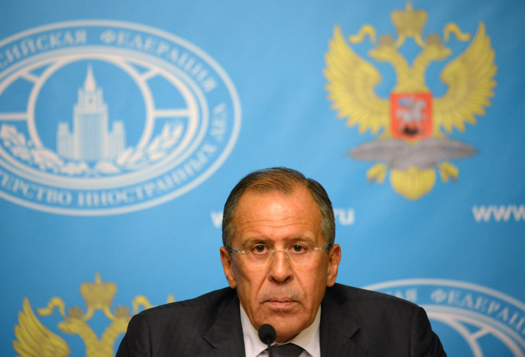 Russian Foreign Minister Sergei Lavrov holds a press conference in Moscow on September 9, 2013. Lavrov called on the Syrian regime to hand over control of its chemical weapons arsenal to international supervision as a way of staving off the threat of military action.