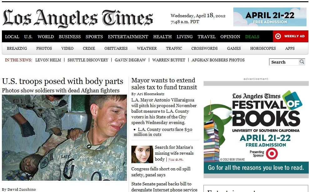 A screenshot of the Los Angeles Times' homepage this morning. The Times published two controversially graphic photos of U.S. soldiers posing with Afghan corpses, against the U.S. military's wishes.