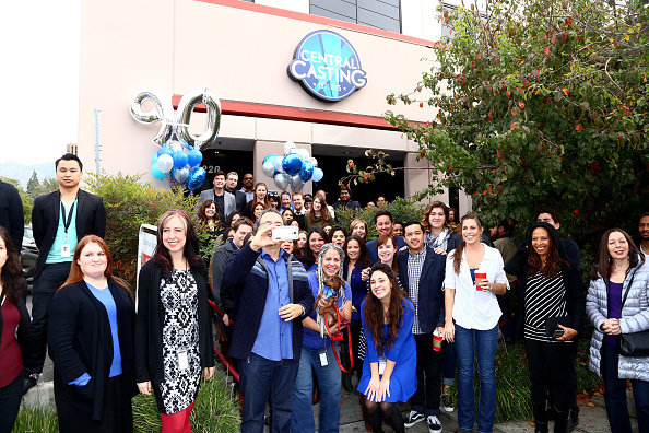 Staff and background actors celebrate Central Casting's 90th Anniversary Actors Celebration in December, 2015.