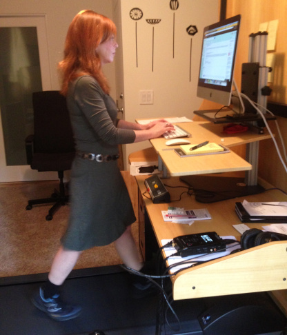 Writer Susan Orlean walks on her office treadmill desk.