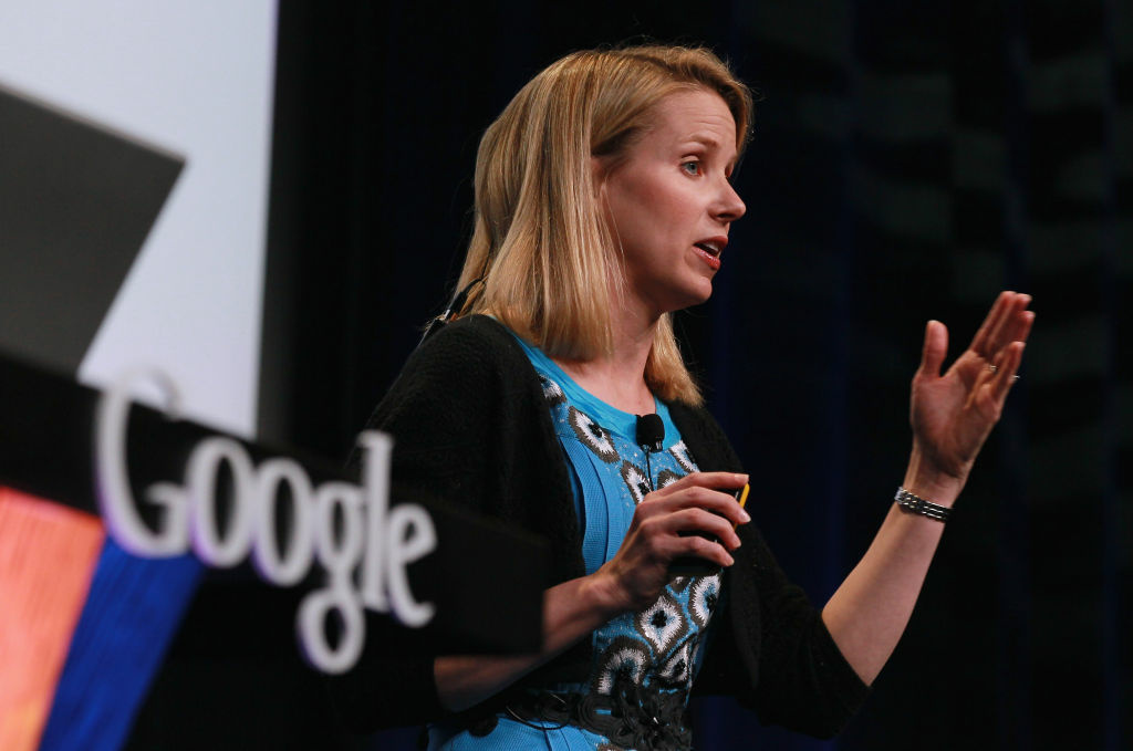 Marissa Mayer speaks during an announcement in San Francisco, California. She says verbal skills are just as important as math ability for future programmers.