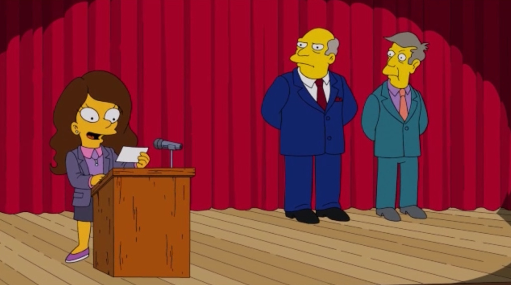 In this episode, Lisa Simpson finally makes a new best friend, Isabel Gutierrez (guest voice Eva Longoria), only to discover that she is her opponent in the second grade class representative election.