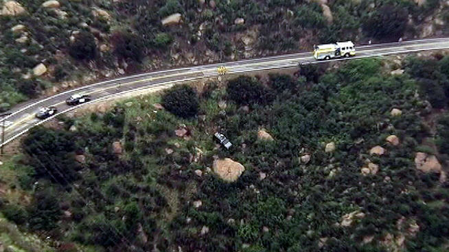 A woman suffered moderate injuries after sending her SUV over the edge of Santa Susana Road in Box Canyon.
