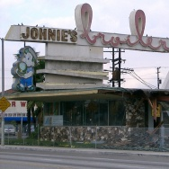 Johnie's Broiler, at 7447 Firestone Blvd in Downey, on January 11, 2007, after it was illegally bulldozed. The building has since been rescued and restored and is a Bob's Big Boy. would Historic Places LA have kept prevented the destruction in the first place?