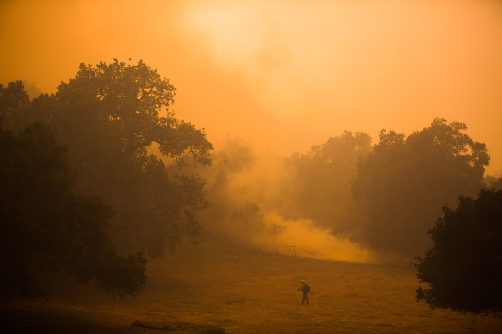 A firefighter during the Camarillo Springs Fire near Hidden Valley, Calif., in Ventura County on May 3, 2013.