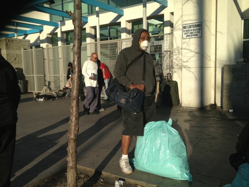 Desmond Williams never leaves his bags unattended on Skid Row in Los Angeles because he knows the police could come take them. He was there on February 28, 2013.