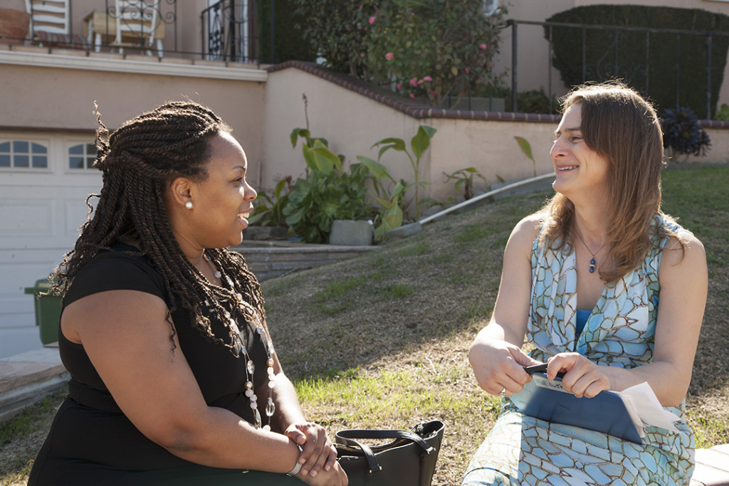 Transgender Canvasser Nancy Williams speaks to a voter in Los Angeles.