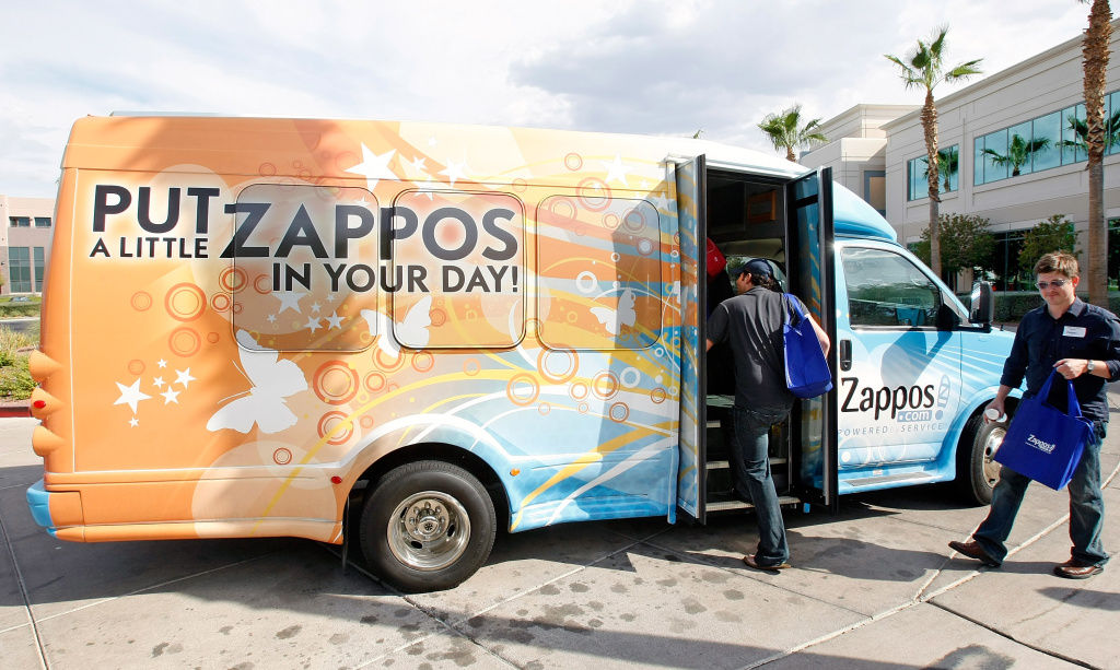HENDERSON, NV - JULY 22:  A shuttle picks up people touring the Zappos.com headquarters July 22, 2009 in Henderson, Nevada.