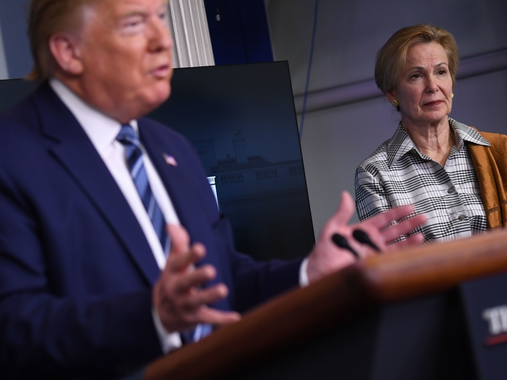 Response coordinator for the White House Coronavirus Task Force Deborah Birx listens to President Trump during a briefing at the White House on April 5, 2020.
