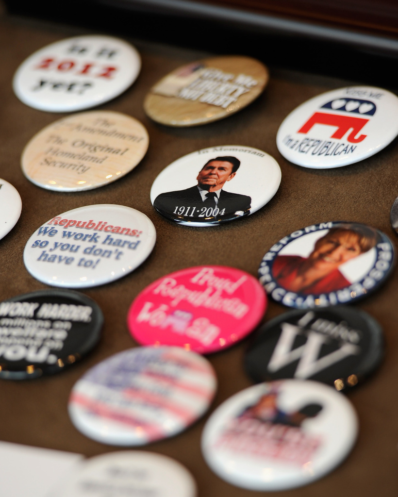 Buttons showing former president Ronald Reagan are display at the California Republican Party Convention in Los Angeles, California.