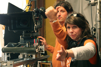 Scientist turned director Valerie Weiss discusses a scene with cinematographer Jamie Urman on the set of her film,