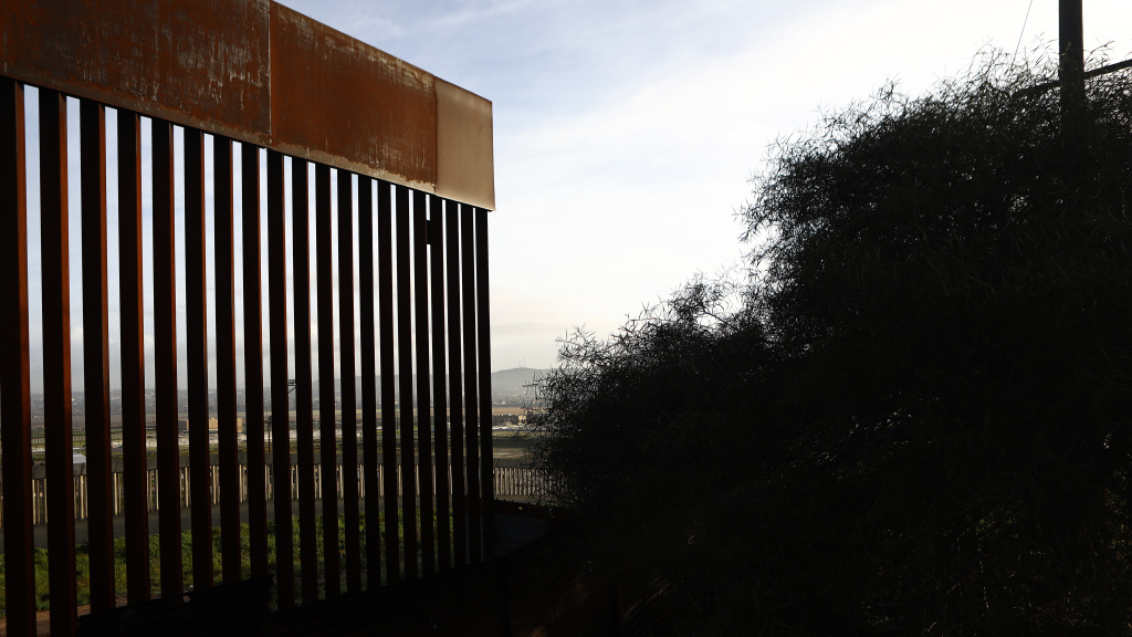 The U.S.-Mexico border barrier stands on Friday in Tijuana, Mexico.