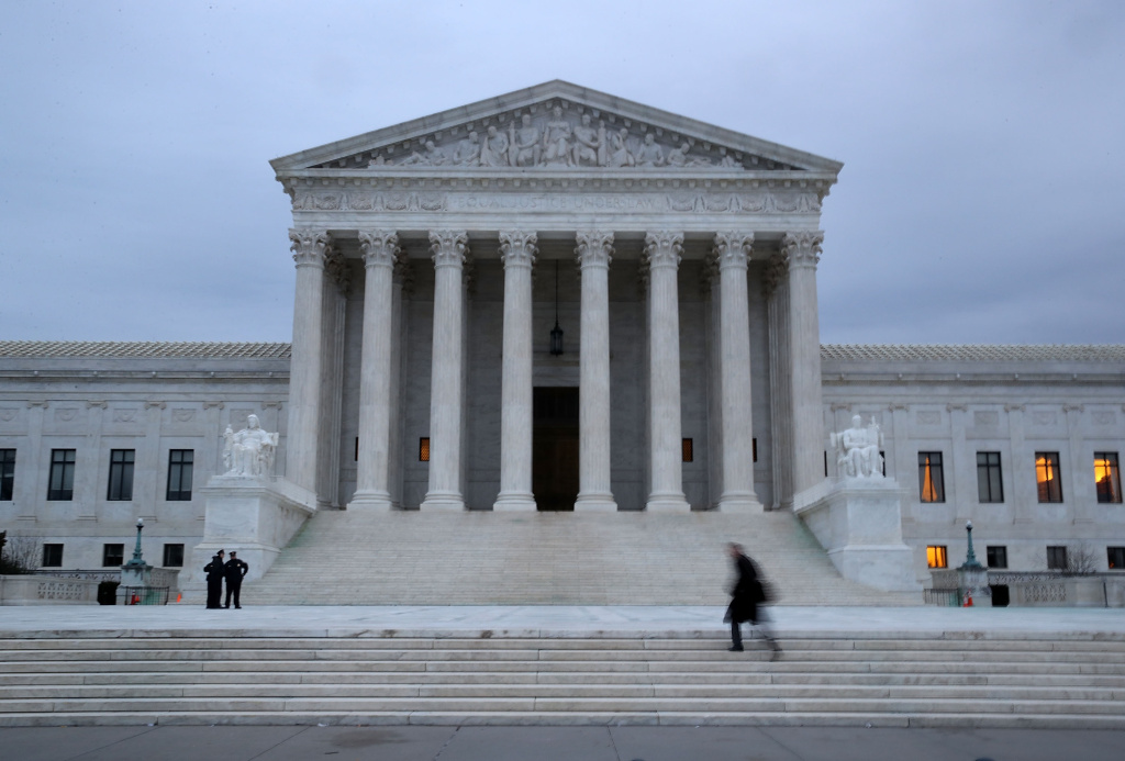 A man walks up the steps of the U.S. Supreme Court on January 31, 2017 in Washington, DC.