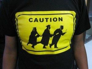 A student activist's t-shirt at a