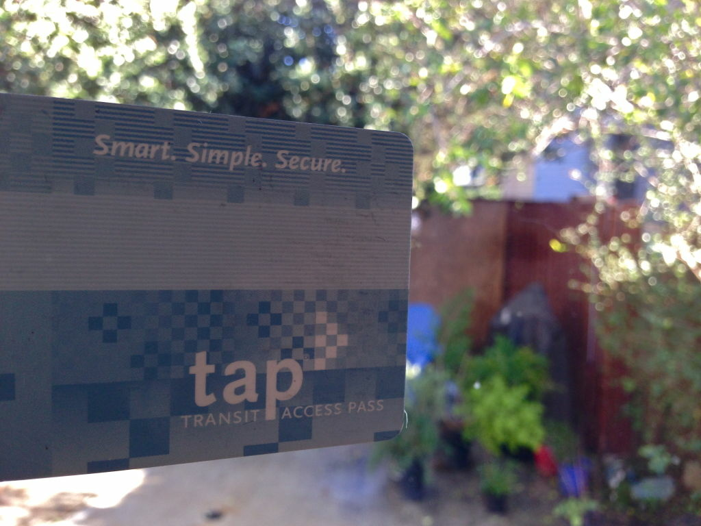 Off-Ramp producer Kevin Ferguson's TAP card. Smart. Simple. Secure. And not very clean.
