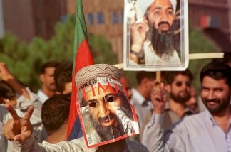Supporters of Afghanistan's Taliban movement shout slogans in favor of Osama Bin Laden.