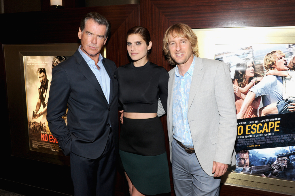 (L-R)  Pierce Brosnan, Lake Bell and Owen Wilson attend the special screening of NO ESCAPE with Owen Wilson, Lake Bell and Pierce Brosnan at Dolby 88 Theater on August 24, 2015 in New York City