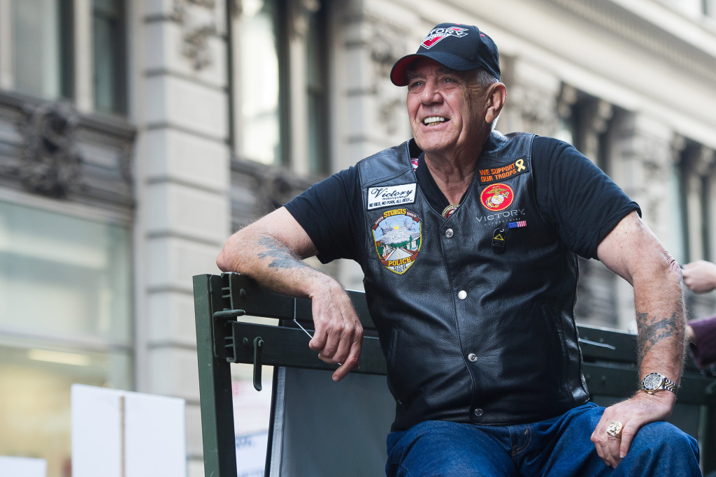 "Vietnam veteran and character actor R. Lee ""Gunny"" Ermey joined 700 Veterans, 12 riding Victory Motorcycles and a 5-ton truck as part of the IAVA/Victory Motorcycles presence at America's Parade on Tuesday, Nov. 11, 2014 in New York."