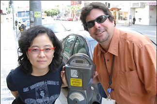 Off-Ramp producer Queena Kim and LA Times City Hall bureau chief Steve Hymon with Public Enemy Number One.